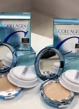 Увлажняющая корейская пудра enough collagen moisture two wake cake spf 25+ /13g+13g