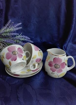 Сервиз чайный чашки с блюдцами сливочник ссср советский завод пролетарий фарфор чайная пара ручная художественная роспись клеймо винтаж