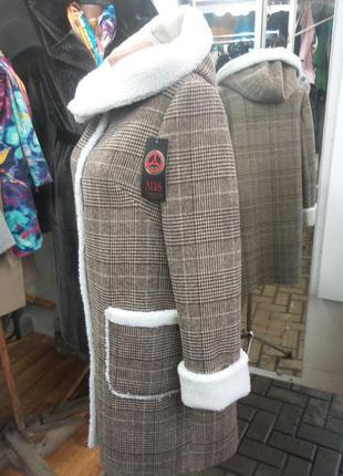 Дубленки из пальтовой ткани на искусственной овчине