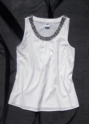 Белай блуза майка vero moda расшитая бисером на воротнике