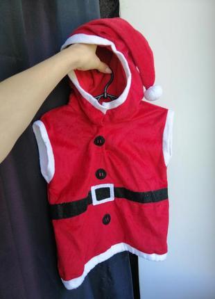 Новогодний костюм санта клауса, деда мороза для мальчика 1 год, 2 года, 3 года (86 размер, 92, 98)