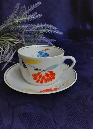Чайная пара рябинушка чашка с блюдцем ссср советский полонное полонский зхк ручная авторская художественная роспись