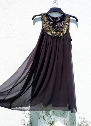 Красивое чёрное свободное развивающееся шифоновое платье h&m