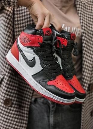 """Женские высокие кожаные кроссовки nike air jordan retro 1 """"red black""""#найк"""