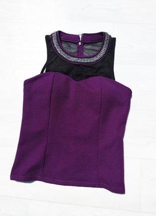 Фиолетовая нарядная блуза с сеткой и декором tout tout feu femme франция