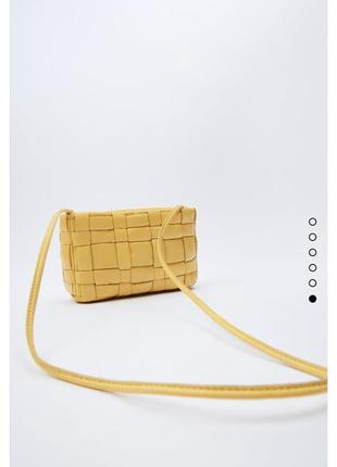 Кожаная сумка кроссбоди через плече стёганая сумочка натуральная кожа zara оригинал