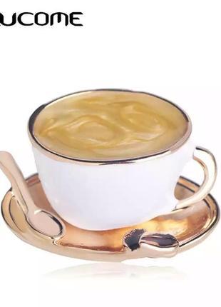 Брошь чашка кофе, кава, чашечка кофе с зернишком кофе и ложечкой
