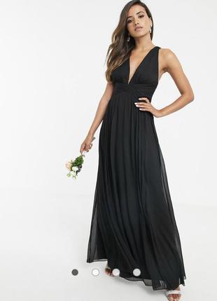 Платье макси со сборками на лифе, драпировкой и запахом на поясе asos design bridesmaid