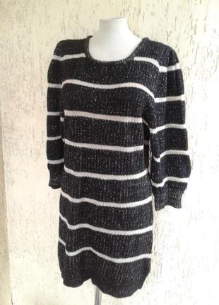 Черно- белое с люрексом  вязанное платье-свитер ,xxlxxl.
