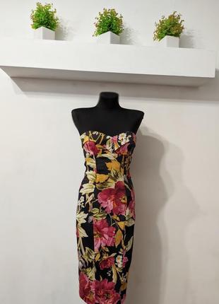 Цветочное платье миди бюстье karen millen