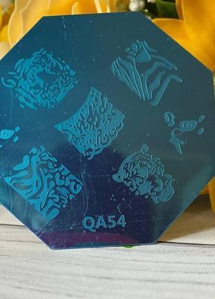 Пластина, диск для стемпинга металлическая 6х6 см qa54
