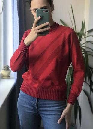 Красная кофта свитер джемпер геометрия шерсть хлопок новая