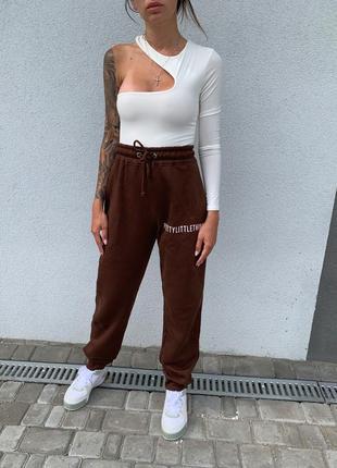 Шоколадные джогеры спортивные штаны на флисе 8
