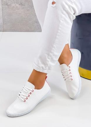 Кеды кроссовки белые мокасины летние эко кожа низкие эспадрильи тапочки с перфорацией
