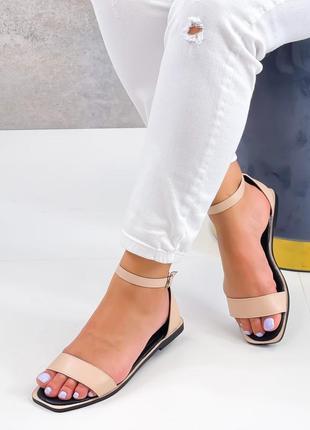Босоножки боссоножки сандалии эко кожа низкие закрытая пяточка бежевые пудровые