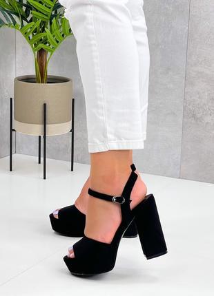 Чёрные каблуки босоножки боссоножки сандалии туфли на высоком каблуке эко замш