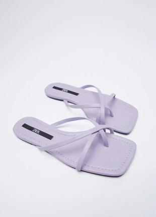 Новая коллекция 🔥сиреневые сандали с тонкими ремешками zara сабо шлепки шлёпанцы зара