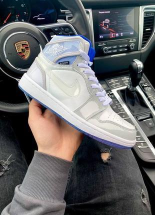 Женские кожаные высокие кроссовки nike air jordan retro 1 high zoom white\react#найк