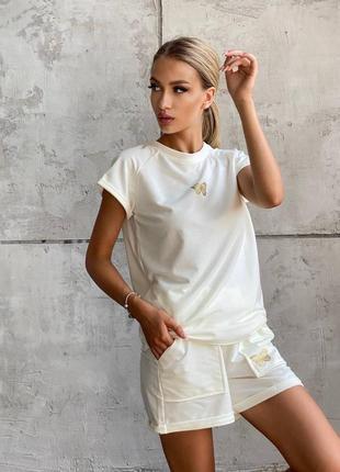 Костюм с шортами летний женский легкий футболка белый голубой черный