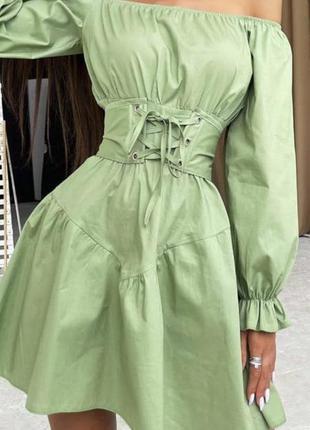 Оливкове хлопкове плаття