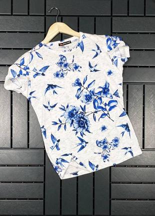 Стильная мужская хлопковая футболка с классным принтом птичек белая1 фото
