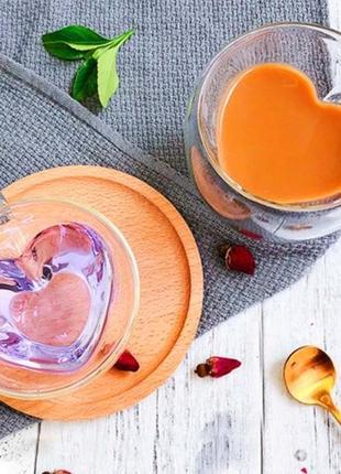 Чашка с двойными стенками сердце 240 ml