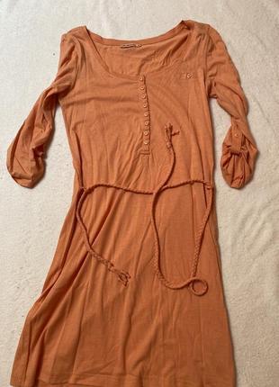 Платье трикотаж персиковое
