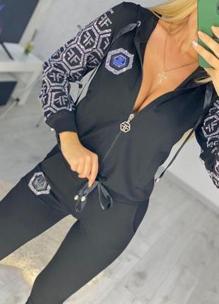 Женский черный брендовый костюм с камнями ferri ferrucci