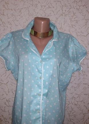 Легкая летняя натуральная блуза в горошек