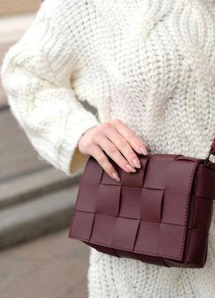 Женская плетеная сумка в стиле bottega aliri-626-07 бордовая
