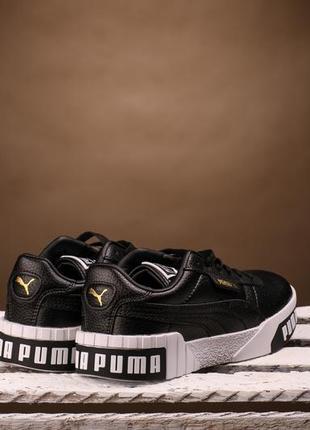 Puma cali black white низкие кожаные кроссовки кеды