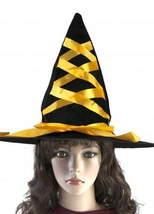 Шляпа волшебницы ведьмы с лентой желтой