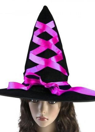 Шляпа  волшебницы ведьмы с лентой розовой