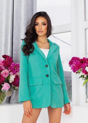 Стильный пиджак, р. 44,46,48,50,52,54, креп костюмка+подкладка, бирюзовый