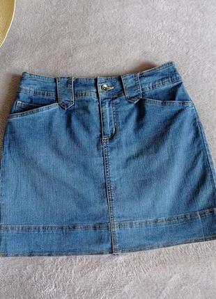 Джинсовая мини юбка с вшитыми шортами