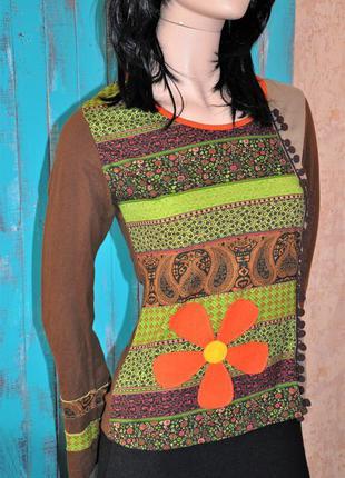 Красивая, яркая кофта/пуловер с принтом -udg. таиланд. 42/44 размер