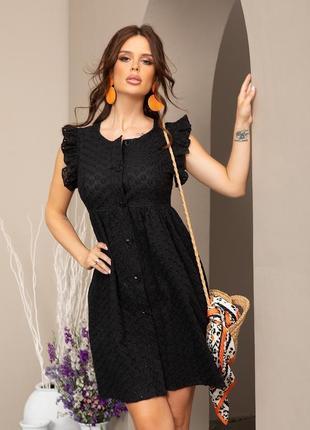 Чорне коттонове плаття з перфорацією і рюшами