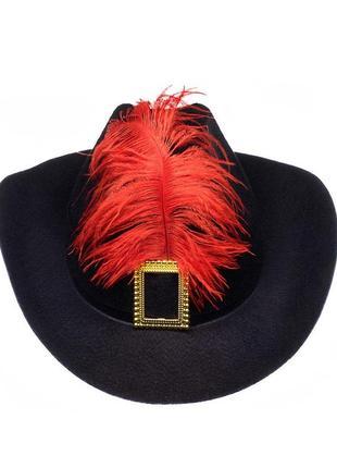 Шляпа мушкетера с пером черная для взрослых