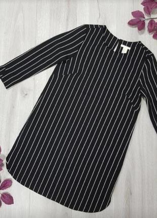 Платье черное в белую полоску h&m