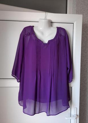 Женская однотонная воздушная блуза на сексуальной  подкладке на брительках. укр. р.- 64-66. marks & spencer woman.