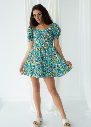 Цветочное мини платье с рукавами фонариками