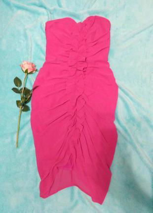 Малиновое платье бюстье н&м