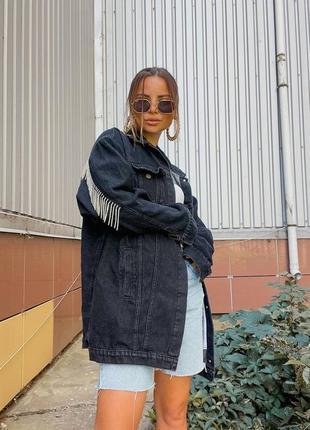 Бомбическая новинка denim colliction джинсовая куртка с бохромой из страз