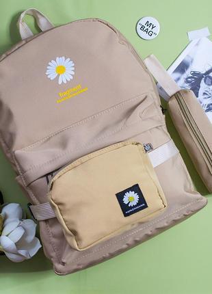 Спортивный городской рюкзак, 3 в 1, сумка на пояс ( бананка ), пенал, портфель, школьный ранец, шкільний, пудра, бежевый