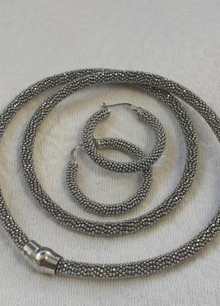 Чокер серьги набор серебро италия