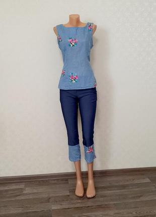 ♥️стильный летний женский костюм блуза+ укороченные брюки 💕