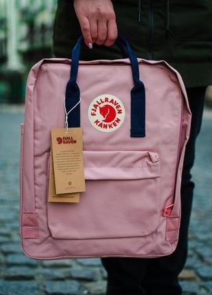 Рюкзак fjallraven kanken classic (фьялравен канкен классик) pink-nay / розовый (синие ручки)