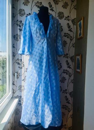 Италия красивый голубой халат пеньюар