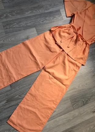 Льняной женский костюм, брюки + пиджак с коротким рукавом