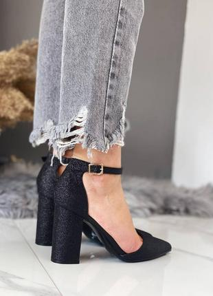 Женские чёрные остроносые туфли лодочки